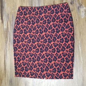 The Limited Black Red Cheetah Pencil Skirt Size 2P